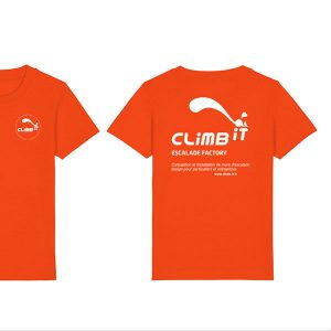 Tshirt-d-escalade-enfant-climb-it-escalade-factory-minicreator-climbit-orange-tangerine coton organique
